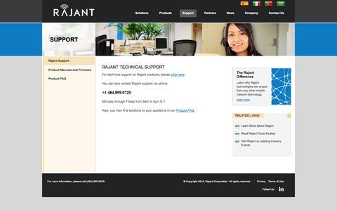 Screenshot of Support Page rajant.com - Rajant Corporation  » Rajant Support - captured Sept. 17, 2014