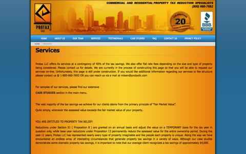 Screenshot of Services Page protaxllc.com - Services ‹ ProTax LLC - captured Sept. 30, 2014