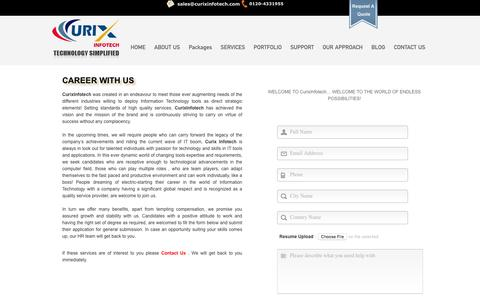 Screenshot of Jobs Page curixinfotech.com - Career with us | Best SEO Company India, SEO India, SEO Services India, SEO Agency India - captured Feb. 2, 2016