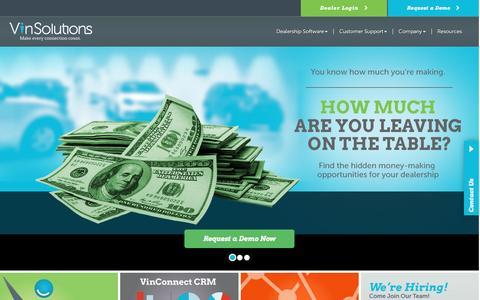 Screenshot of Home Page vinsolutions.com - VinSolutions - Auto Dealership Management and Sales Software - captured Jan. 11, 2016
