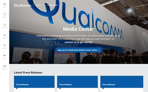 Screenshot of Press Page qualcomm.com - Media Center | Qualcomm - captured April 9, 2018