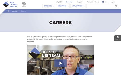 Screenshot of Jobs Page ueidaq.com - Aerospace, Energy, Defense Data Acquisition & Control    United Electronic Industries - captured Oct. 19, 2017