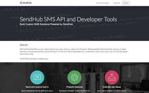 Screenshot of Developers Page sendhub.com - SendHub SMS API & Developer Tools - captured Jan. 19, 2016