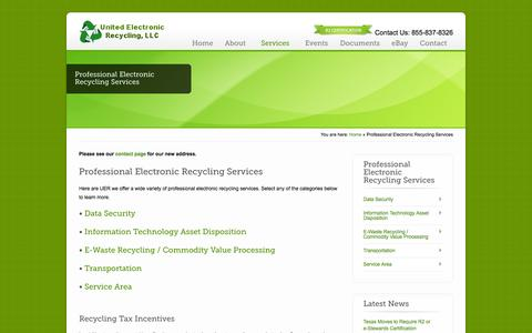 Screenshot of Services Page unitedelectronicrecycling.com - Professional Electronic Recycling Services - United Electronic Recycling - captured Oct. 7, 2014
