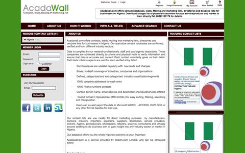 Screenshot of About Page acadawall.com - Acadawall | Contact databases, leads, mailing and marketing list| About Us - captured Nov. 20, 2016