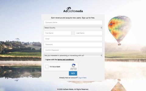 Screenshot of Signup Page adgatemedia.com - Signup - Adgate Media - captured Jan. 17, 2020