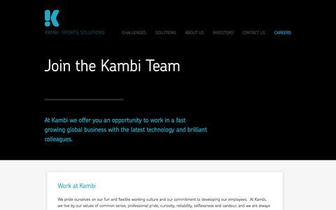 Screenshot of Jobs Page kambi.com - KAMBI / Careers  / - captured Sept. 18, 2014