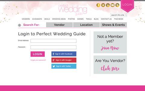 Screenshot of Login Page perfectweddingguide.com - Bridal | Perfect Wedding Guide - captured May 15, 2018