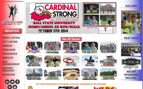 Screenshot of Home Page americamultisport.com - America Multi-Sport | TOUGHMAN – Indiana Club Tri Series – Triathlon – Duathlon – Aquabike – Running – Walking – Mud & Trail - captured Sept. 30, 2014