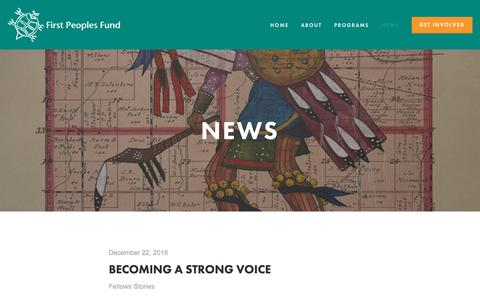 Screenshot of Press Page firstpeoplesfund.org - News — First Peoples Fund - captured Jan. 21, 2017