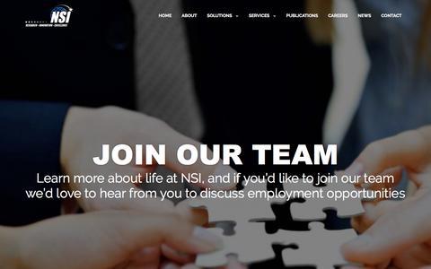 Screenshot of Jobs Page nsiteam.com - CAREERS | NSI - captured Feb. 15, 2016