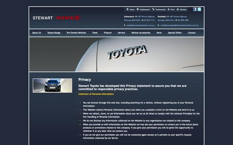 Screenshot of Privacy Page stewartautomotive.com.au - Privacy | www.stewarttoyota.com.au  | Privacy - captured Oct. 7, 2014