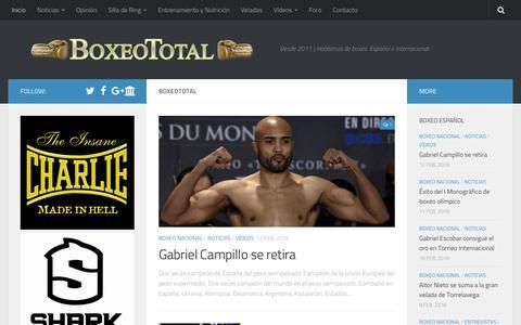 Screenshot of Home Page boxeototal.com - BoxeoTotal • Desde 2011 | Hablamos de boxeo. Español e internacional. - captured Feb. 12, 2016