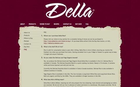 Screenshot of FAQ Page dellarice.com - Della Rice |   FAQ - captured Oct. 6, 2014