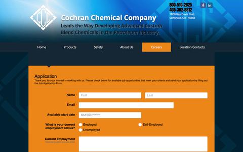 Screenshot of Jobs Page cochranchemical.com - Careers at Cochran Chemical Company - captured Aug. 11, 2017