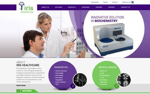 Screenshot of Home Page iris-healthcare.com - Poct Instruments, Diagnostic Equipment & Reagents India - captured Oct. 2, 2018