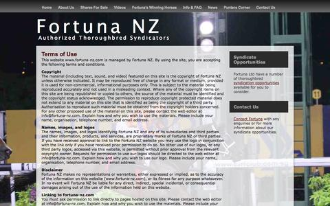Screenshot of Terms Page fortuna-nz.com - Terms of Use | Fortuna NZ - captured Oct. 6, 2014