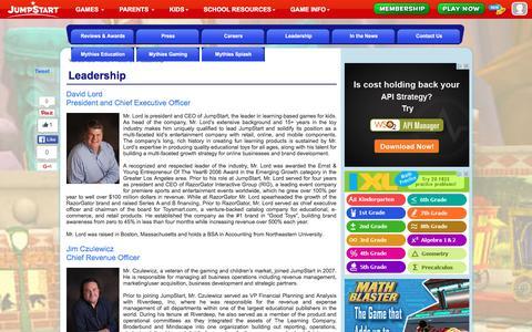 Screenshot of Team Page jumpstart.com - Leadership - 3D Virtual World for Kids - JumpStart - captured Jan. 14, 2016