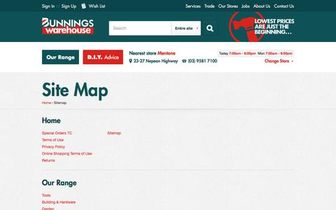 Screenshot of Site Map Page bunnings.com.au - Sitemap | Bunnings Warehouse - captured July 31, 2016