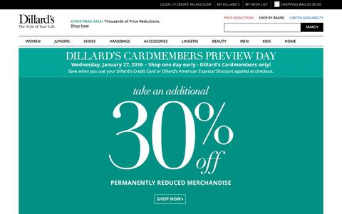 Screenshot of Home Page dillards.com - Dillard's - Official Site of Dillard's Department Stores - Dillards.com | The Style of Your Life - captured Jan. 27, 2016