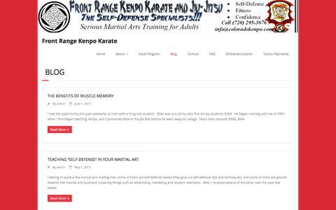 Screenshot of Blog coloradokenpo.com - Blog – Front Range Kenpo Karate - captured Feb. 10, 2016