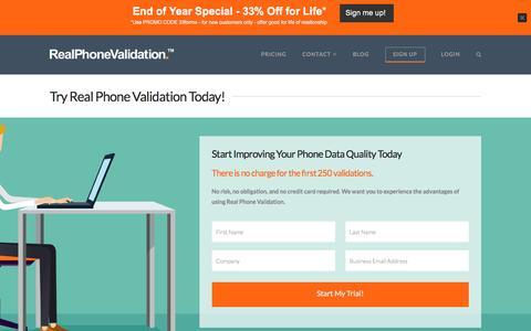 Screenshot of Signup Page realphonevalidation.com - trial start - RealPhoneValidation™ - captured Nov. 29, 2016