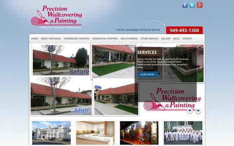 Screenshot of Home Page precisionwallcovering.net - Wallcovering and Painting Contractor | Precision Wallcovering & Painting - captured Oct. 3, 2014