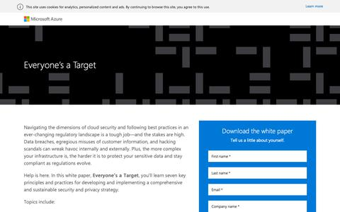 Screenshot of Landing Page microsoft.com - Cloud Data Security and Privacy | Microsoft Azure - captured April 17, 2019