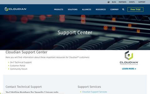 Screenshot of Support Page cloudian.com - Support Center | Cloudian - captured June 24, 2019