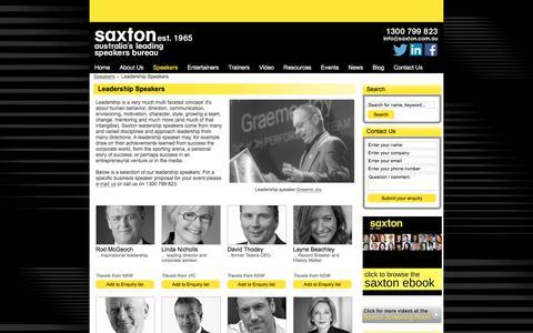 Screenshot of Team Page saxton.com.au - Leadership Speakers | Saxton Speakers Bureau - captured Sept. 22, 2018