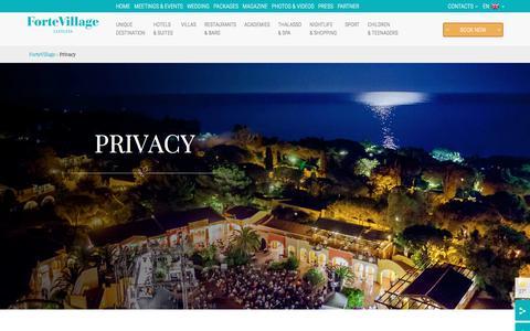 Screenshot of Privacy Page fortevillageresort.com - Privacy - Forte Village Resort - captured Aug. 4, 2016