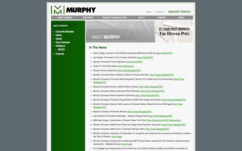 Screenshot of Press Page murphynet.com - News Releases - Murphy - Mechanical, Construction, Maintenance, Service, Design - captured Oct. 26, 2014