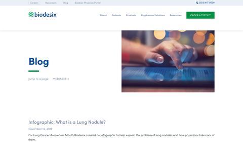 Screenshot of Blog biodesix.com - Biodesix Blog - Learn About Lung Nodules - captured Nov. 16, 2019