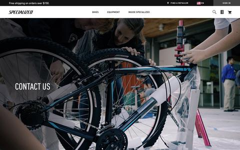 Screenshot of Contact Page specialized.com - Contact Us | Specialized.com - captured March 18, 2019