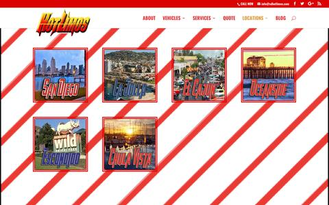 Screenshot of Locations Page sdhotlimos.com - San Diego Hotlimos Group Transportation Locations - captured Sept. 21, 2017