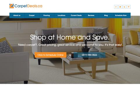 Screenshot of Home Page carpetdeals.ca captured Aug. 16, 2015