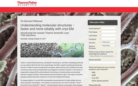 Screenshot of Landing Page thermofisher.com - Webcast - Understanding molecular structures – faster and more reliably with cryo-EM | Thermo Fisher Scientific - Electron Microscopy Solutions - captured April 1, 2018