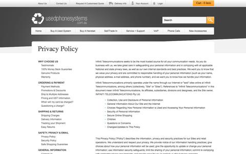 Screenshot of Privacy Page usedphonesystems.com.au - Privacy Policy - captured June 4, 2016