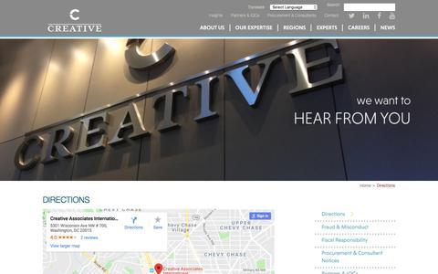 Screenshot of Maps & Directions Page creativeassociatesinternational.com - Directions - Creative - captured July 23, 2018