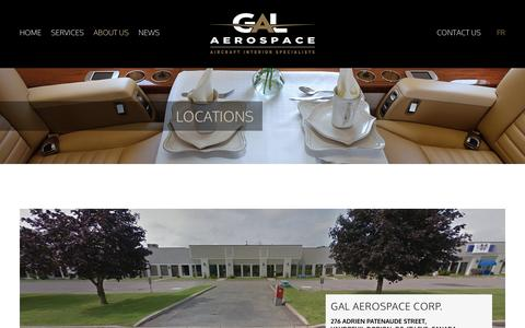 Screenshot of Locations Page galaerospace.com - Gal Aerospace, Gal Aviation, Gal Engineering - captured Oct. 10, 2016
