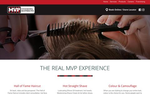 Screenshot of Services Page mvpmodernbarbers.com - Men's Haircuts – Clips, Sports, Shaves | MVP Modern Barbers Services - captured Oct. 1, 2018