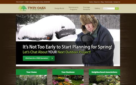 Screenshot of Home Page twinoakslandscape.biz - Landscaping, Mowing and Lawn Care Services in Ann Arbor MI - captured Jan. 25, 2016