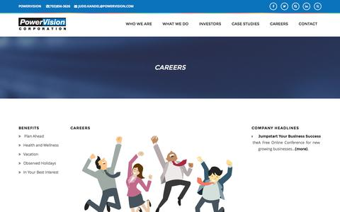 Screenshot of Jobs Page powervision.com - PowerVision Corporation - An e-Business and e-Commerce Solutions Provider - captured Nov. 10, 2016