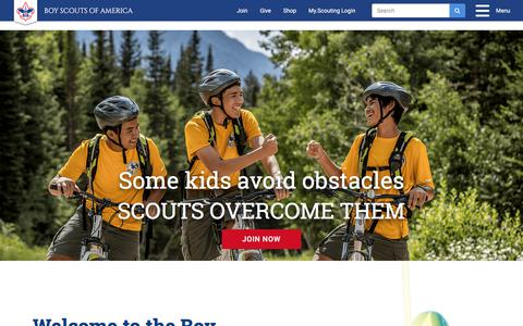 Screenshot of Home Page scouting.org - Boy Scouts of America – Boy Scouts of America. Prepared. For Life.® - captured Jan. 27, 2018