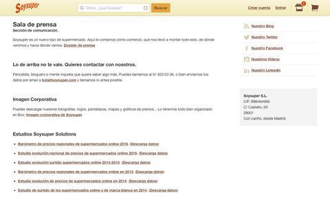 Screenshot of Press Page soysuper.com - Sala de prensa - captured July 18, 2017