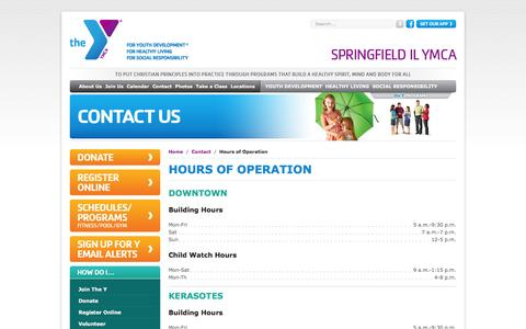 Screenshot of Hours Page springfieldymca.org - Hours of Operation | YMCA of Springfield, IL - captured Feb. 24, 2016