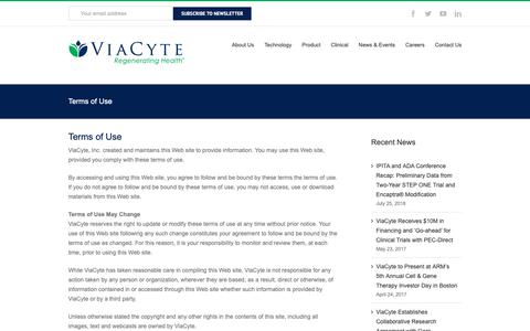 Screenshot of Terms Page viacyte.com - Terms of Use – Viacyte, Inc. - captured Oct. 18, 2018