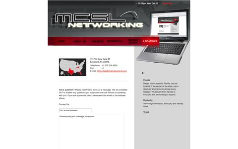 Screenshot of Contact Page Locations Page mcslnetworking.com - MCSL Networking - Locations - captured Oct. 23, 2014