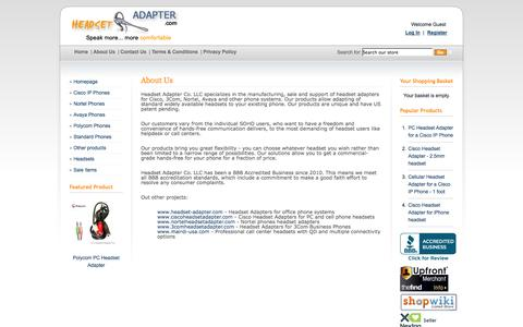 Screenshot of About Page headsetadapter.com - About Us - Headset Adapter Co. - captured Oct. 2, 2014