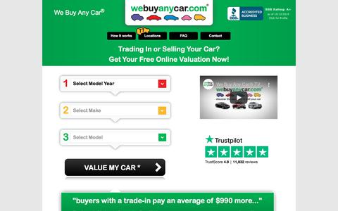Screenshot of Home Page webuyanycarusa.com - We Buy Any Car® | Sell My Car | Free Online Valuation - captured Oct. 13, 2019